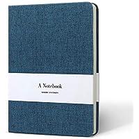 KKDragon Cuaderno A5 Libreta Papel Rayado & Papel Blanco Total 132 Hojas ( 264 Páginas ) Tapa Dura con Tela de Arte Azul Oscuro