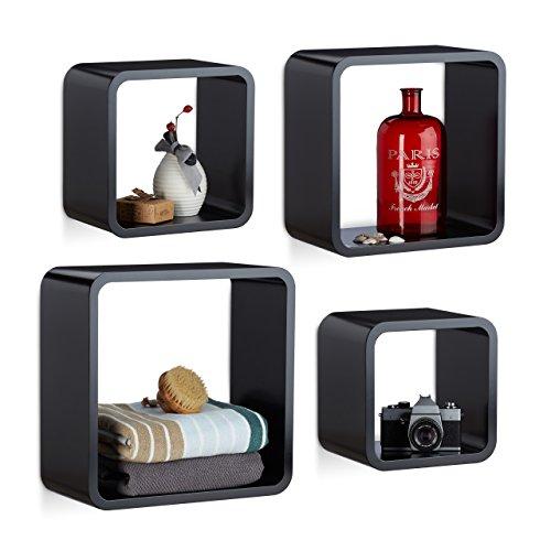 Relaxdays 10021777_46 set 4 mensole da parete cube per il soggiorno, forma quadrata, nero