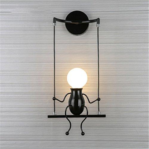 XIAOBIDENG Moderne LED-Wandleuchte kreativen Bild montiert Wandleuchte Wandleuchte Home Armaturen für Kinder- Schlafzimmer Flur Schwarz 1 Led (Lampen Für Hello Kitty Schlafzimmer)