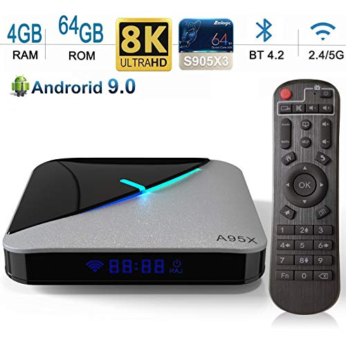 Android TV Box 【4G+64G】 A95x F3 Air Android 9.0 TV Box mit Amlogic S905X3 Quad-core Cortex-A55/Wallpaper Changeable/Dual WiFi 2.4G/5.0G /USB 3.0/HDMI 2.1/ 4K HD Smart Android TV Box