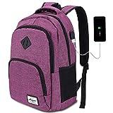 AUGUR Laptop Rucksack Damen mit Laptopfach und USB für Schule Arbeit Business Reise 20-35L