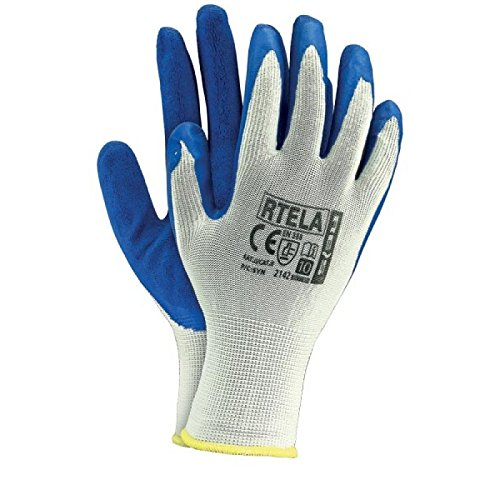 12 Paar Arbeitshandschuhe Gr. 11 Latexbeschichtung Handschuhe Montagehandschuhe RTELA WN WEIß BLAU