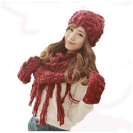 SALY Ladies Inverno Lovely Spessi caldi Sciarpe Guanti di Cappello Regali  di Natale-3 pz 4ddc5d175971