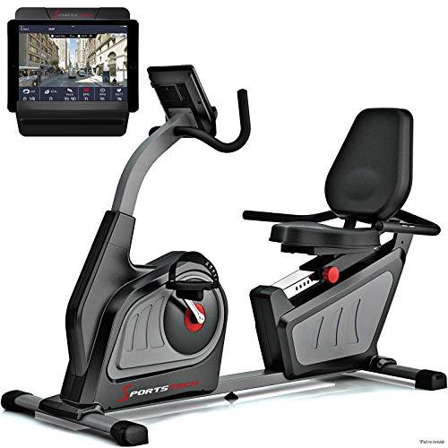 Sportstech Bicicleta estática reclinada ES600 Equipada con App de Control para Smartphone + Suministro eléctrico autónomo + Pantalla 5.5',Compatible con Correa de Pulso