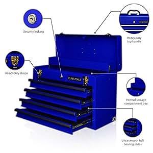 US PRO TOOLS Coffre à outils 4tiroirs portable Bleu