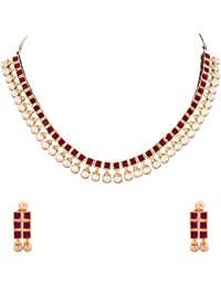 Ratnavali Jewels American Diamond CZ Red Ruby Pearls Gold Plated Designer Jewellery Set/ Necklace Set With Chain...