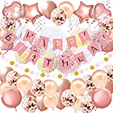 59Pack Geburtstagsdeko, Geburtstag Dekoration, Happy Birthday Girlande, Geburtstag Party Dekorationen Set für Mädchen und Frauen,Einschließlich