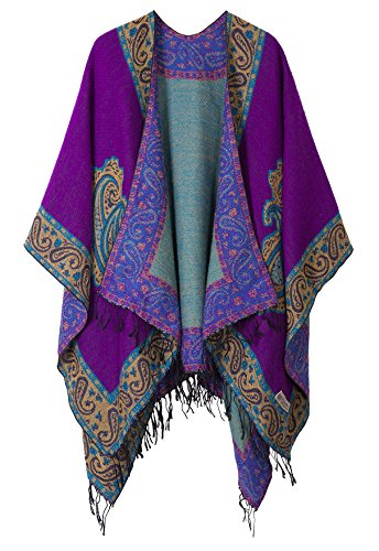 Urban goco donna retro poncho scialle gilet mantello cardigan con nappa oversize scialle poncho (taglia unica, #2 viola)