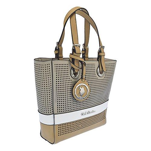 U.S.POLO ASSN. Borsa a tracolla con borsetta interna 25-39x8x26 cm Beige - Bianco - Cammello