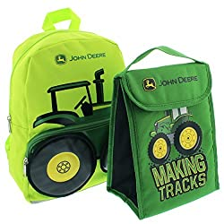 John Deere 13 inch Toddler Backpack and Foldable Lunch Bag Set (Green Tractor)