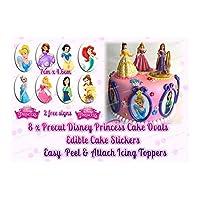 8 x Edible Disney Princess Cake Stickers, Precut Edible Icing + 2 free signs