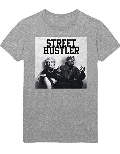 Hustler Top Shirt (Hypeshirt T-Shirt Marilyn Monroe x Tupac Street Hustler C113238 Grau L)