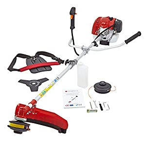 51zWvHePEzL. SS300  - TRUESHOPPING 65cc Petrol Grass Lawn Trimmer - Heavy Duty Powerful Bush/Brush Cutter with 2-Stroke Engine and Protective Guard - Ideal for Trimming Weeds, Cutting Lawn Edges and More