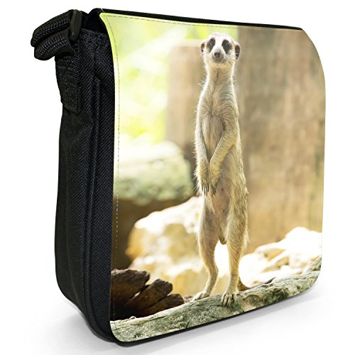 Animal Wildlife Meerkat-Suricato Borsa a spalla piccola di tela, colore: nero, taglia: S Meerkat Standing On A Log