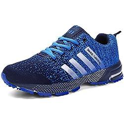 Sollomensi Zapatos para Correr en Montaña y Asfalto Aire Libre y Deportes Zapatillas de Running Padel para Hombre Azul 44