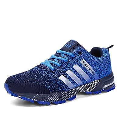 Sollomensi Chaussures de Course Running Compétition Sport Trail Entraînement Homme Femme Cinq Couleurs Basket - Bleu - Taille 35 EU