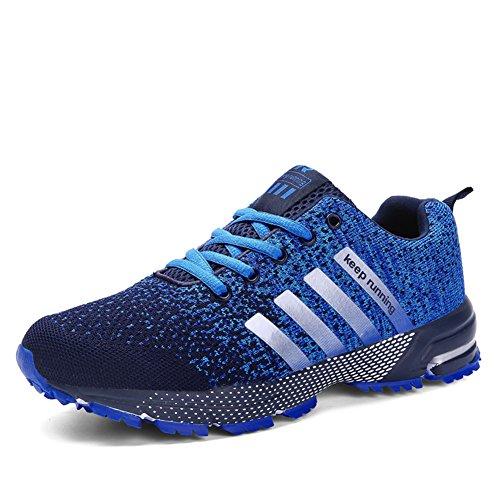 Laufschuhe Retwin Turnschuhe Straßenlaufschuhe Sneaker mit Snake Optik Damen Herren Sportschuhe Blau 44