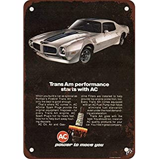 prz0vprz0v 1972 AC Spark Plugs Pontiac Trans Am Vintage Look Reproduction Metal Tin Sign 12X18 Inches