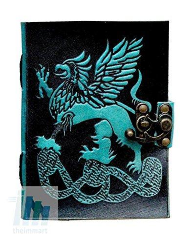 tuzech Pure Real Vintage Hunter piel papel hecho a mano cuaderno diario para oficina casa a escribir poema actualización diaria con atractivo y de bloqueo de metal grabado dragón 7pulgadas