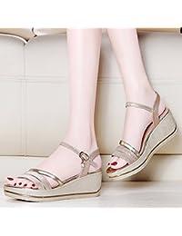 JRFBA-Zapatos Sandalias de Verano, Fondo Plano, Versión Coreana, Pendiente y Fondo Grueso Zapatos,Treinta y Ocho...