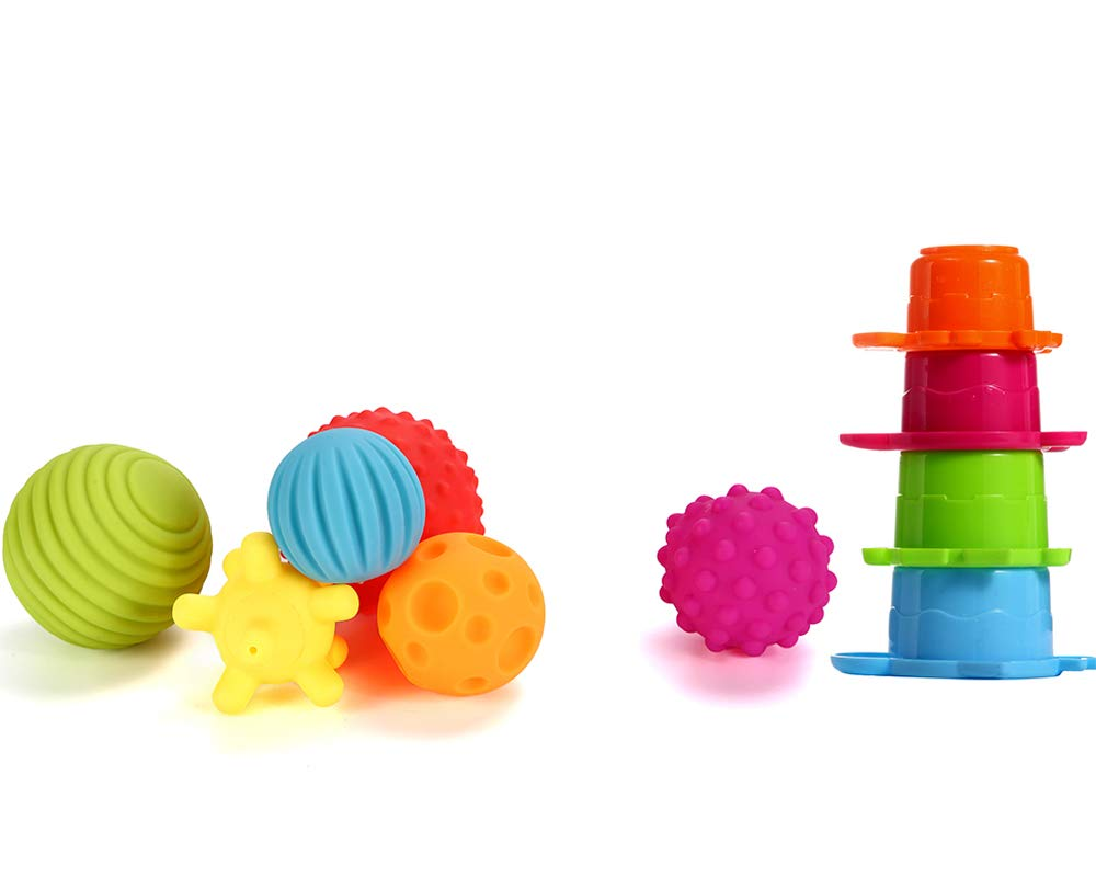 Sensory Balls for Baby- Great Variety In Texture and Color - Kids Rainbow Bath Toys- 6 Colorful Soft and Squeeze Sensory Toy + 4 Stacking Cups Set for Babies & Toddlers - Kids BPA Free Water Toy 1