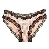 Senza Fretta Women Sexy Lace Underwear Briefs Ladies Knickers Womens Hipsters (S, Pink)