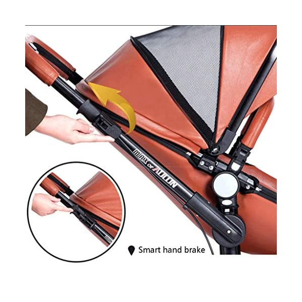 Meen Baby Stroller, High Landscape Leather Two-Way Car 360 Degree Folding Shock Can Sit Lie Baby Car (Color : Brown) Meen * EASY TO FOLD: It can be used in one-button car collection, easy to handle all kinds of occasions, save space, easy to carry, easy and labor-saving * SAFETY SYSTEM: Baby stroller adopts 5-point safety belt, high quality design is safer, and 5-point structure is safer * ADJUSTABLE BACKREST - The stroller backrest can be adjusted at any angle, and the pedal can be adjusted according to the baby's needs, giving the baby a more comfortable experience 6