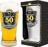 Abc Casa Bierglas 0,5l mit glänzendem Aufschrift zum 50. Geburtstag für alle Biertrinker – Aufschrift Premium Qualität, 50 Jahre – originell verwendbares Geschenk für 50-Jährige im Geschenkbox