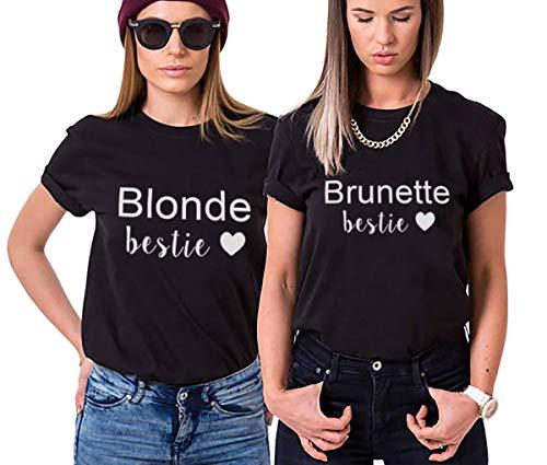 Besten T-shirts (Friends t-Shirts für 2 mädchen Damen Sister Shirt BFF T-Shirt Best Friend Shirts Bestie Tshirt Blonde Brunette Sommer Oberteil Tops 2 Stücke (Schwarz,Blonde-S+Brunette-S))