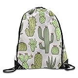 Rucksack mit Kordelzug, modisches Design, Grün Pflanzenkakteen und Blumen, süßer Balken