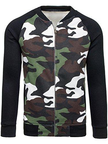 BOLF Herren Sweatshirt Sweatjacke Langarmshirt Stehkragen Zip 1A1 MIX Grün_2538A
