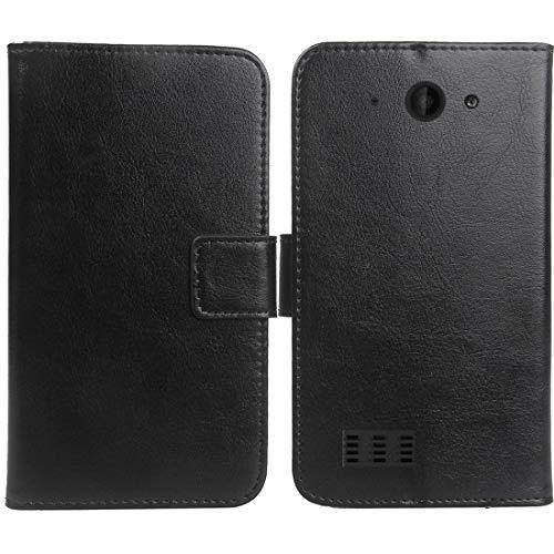Gukas PU Leder Tasche Hülle Für Archos Saphir 50X 5 Handy Flip Design Brieftasche mit Karten Slots Schutz Protektiv Case Cover Etui Skin (Farbe: Schwarz)