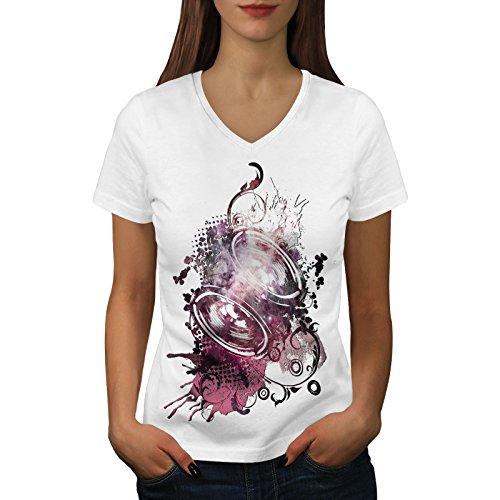 wellcoda Subwoofer Bass Frau XL V-Ausschnitt T-Shirt