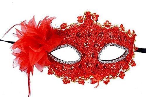 EQLEF® Spitze Kristall Cosplay Roman griechischen venezianischen Halloween Costume Party Maskerade Maske (Rot Maskerade Maske)