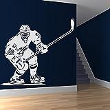 Hockey su ghiaccio Partita Wall Stickers Pista di ghiaccio Sport Decor Art Stickers disponibile in 5 dimensioni e 25 colori Extra Grande Bianco