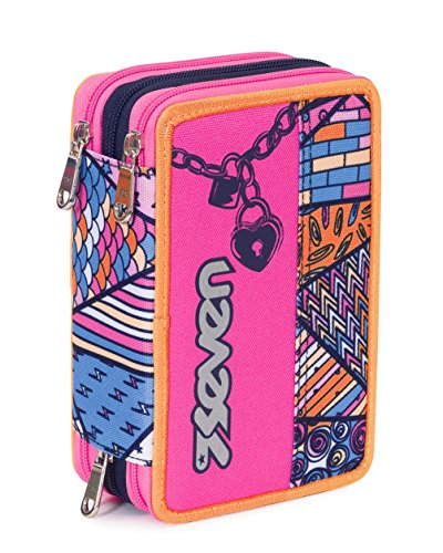 Estuche Escolar 3 Pisos – Seven – Festival – Multi Compartimentos con lápiz, rotuladores, boligrafos… Rosa Azul