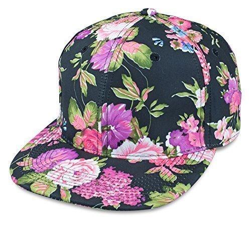 Sense42 Snapback Cap | im Floral All-Over-Print Design | Schwarz Violett Pink | Flat Cap Bill | Unisex | Hip Hop Kappe | Schirmmütze | Blumen | One Size