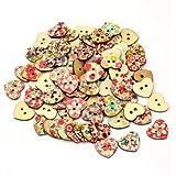 AllBeauty - 100 bottoni in legno, a forma di cuore, con stampa floreale, adatti per cucito e scrapbooking