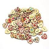 100 x Botones de Madera en Forma de Corazón Con 2 Ojales Dibujos Accesorio DIY