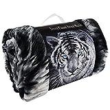 MA ONLINE 3D Pferd Wolf und Tiger Bedruckt Webpelz Sofa Bett Wirft Doppelbett King Size Luxus Weiche Decke, Black White Tiger Double, Doppel-Größe