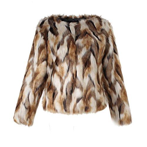 Yuandian donna autunno inverno casual colori misti corto giacche di pelliccia ecologica pelo sintetico morbido caldo elegante ecologica pellicce giubbotto cappotti grigio+giallo+bianco l