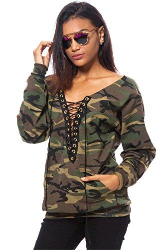 Camo Damen T-shirt (Langarm Militär Camo TarnungEyelet Schnürung Tiefer V-Ausschnitt Kangaroo Tasche Taschen Sweatshirt T-Shirt Oberteil Top Armee Grün M)