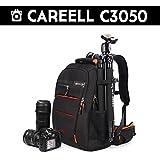 CAREELL C3050DSLR Camera Sac à dos pour ordinateur portable multifonctionnel Sac à bandoulière (Noir/rouge)