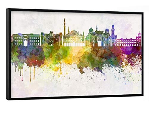 artboxONE Poster mit schwarzem Rahmen 30x20 cm Städte Alexandria Skyline in Watercolor - Bild Alexandria Skyline