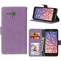 "MOONCASE Alcatel Pop 3 5.5 Funda Billetera Mate retro Carcasa De Cuero Cartera Case con Soporte Plegable y Marco De La Foto para Alcatel OneTouch Pop 3 5.5"" Morado"