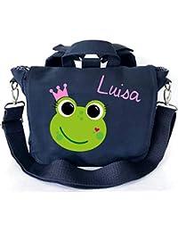 Preisvergleich für 2in1 Kindergartenrucksack mit Namen | personalisiert & Bedruckt | Motiv Frosch-königin Krone rosa| Kindergartentasche...