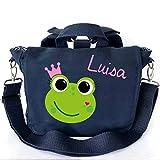 2in1 Kindergartenrucksack mit Namen | personalisiert & Bedruckt | Motiv Frosch-königin Krone rosa| Kindergartentasche Rucksack Tragetasche Kinder | Canvas-Tasche Navy viele Farben