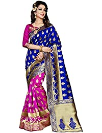 Ecolors Fab Women's Silk Saree With Blouse Piece (Pink And Blue)