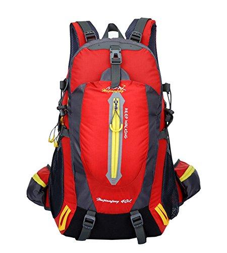 Ben Exploring 40L impermeabile outdoor sports escursionismo campeggio viaggio zaino trekking arrampicata zaino borsa, navy green Red