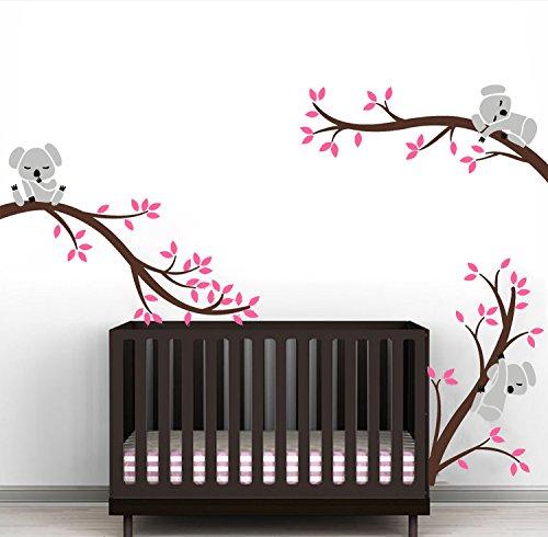 Sayala Stickers Muraux 3 Cute Koala Arbre Enfant- Autocollant Adhésif Mural Koala Branches Stickers...
